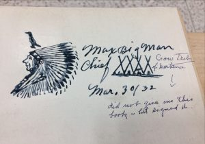 "Signature in ""The Indians' Book"" by Chief Max Big Man's along with illustration of a chief"