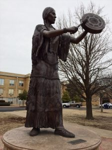 Statue of Te Ata Fisher on the University of Science and Arts of Oklahoma's campus in Chickasha, Oklahoma